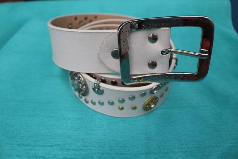 ceinture cuir blanc style amérindien cowboy T90 vintage retro hippie chic
