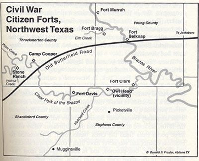 Map Of Northwest Texas.Civil War Citizen Forts Northwest Texas Map Texas History Texas