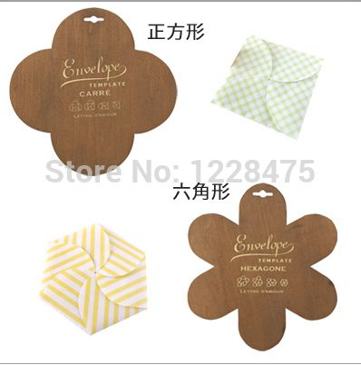 1pcs\/lot New wooden Square envelope template Six-square envelope - shipping manual template