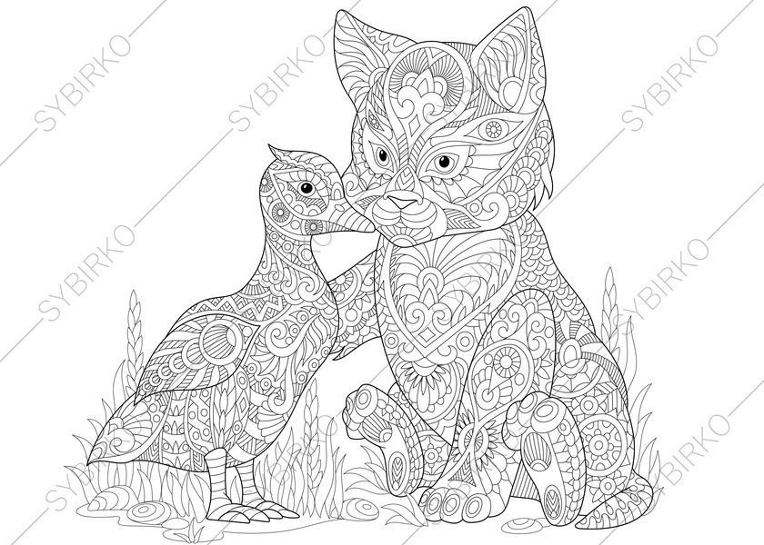 Cat And Duck Adult Coloring Book Page Zentangle Doodle