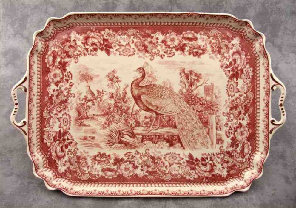 Red Cream Transferware Peacock Toile Serving Platter Tray