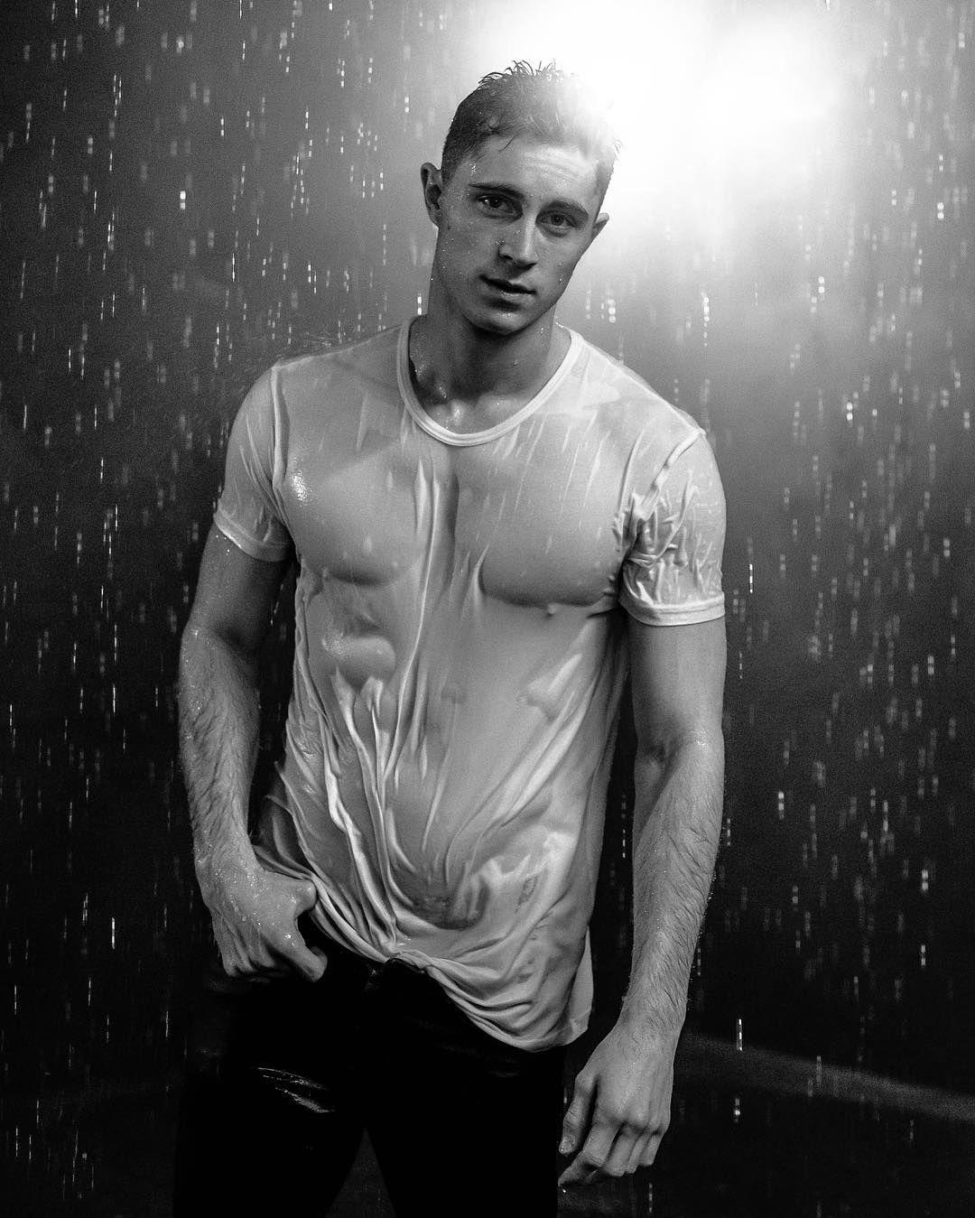 white t shirt in the rain