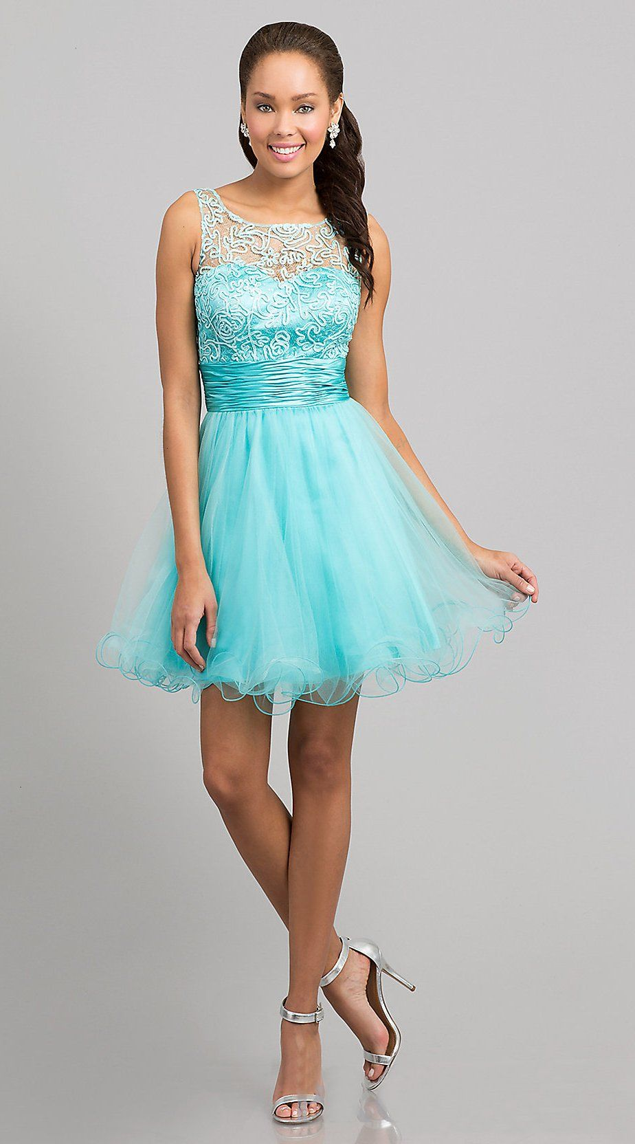 Baby Doll A Line Short Mint Blue Prom Dress Lace Poofy Wide Strap ...