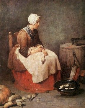 This Painting Shows A Woman Involved In Kitchen Work Dressed Just As The Illustrations Above Depict The Paintings 18th Century Paintings Painting Infinite Art
