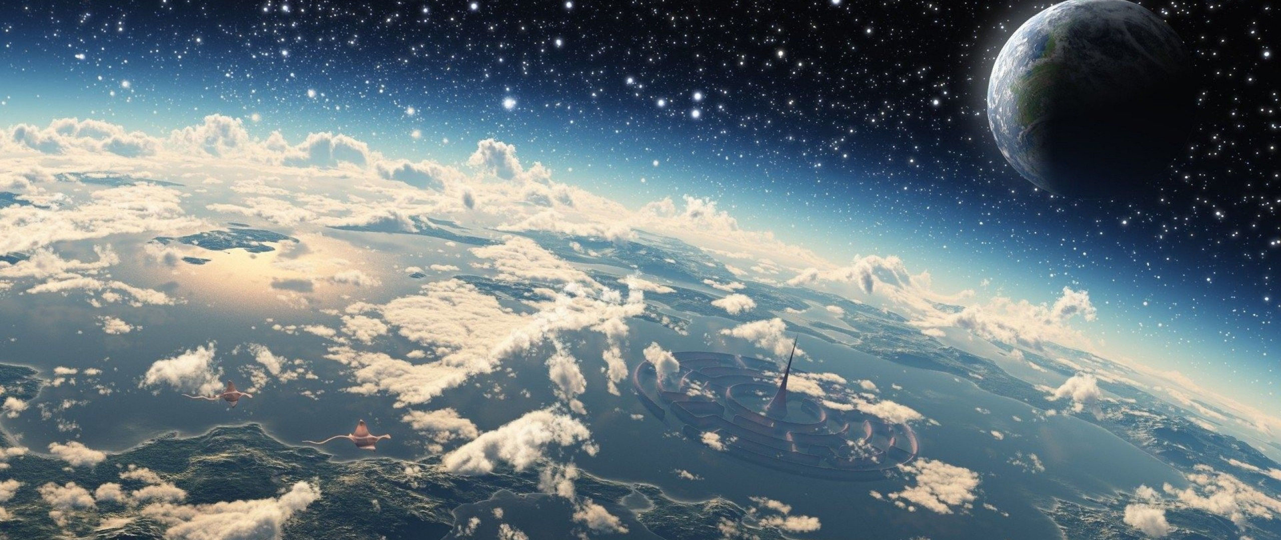 Microworld Space Ultra Wide Tv Wallpaper High Sci Fi Wallpaper Fantasy Background Space Anime