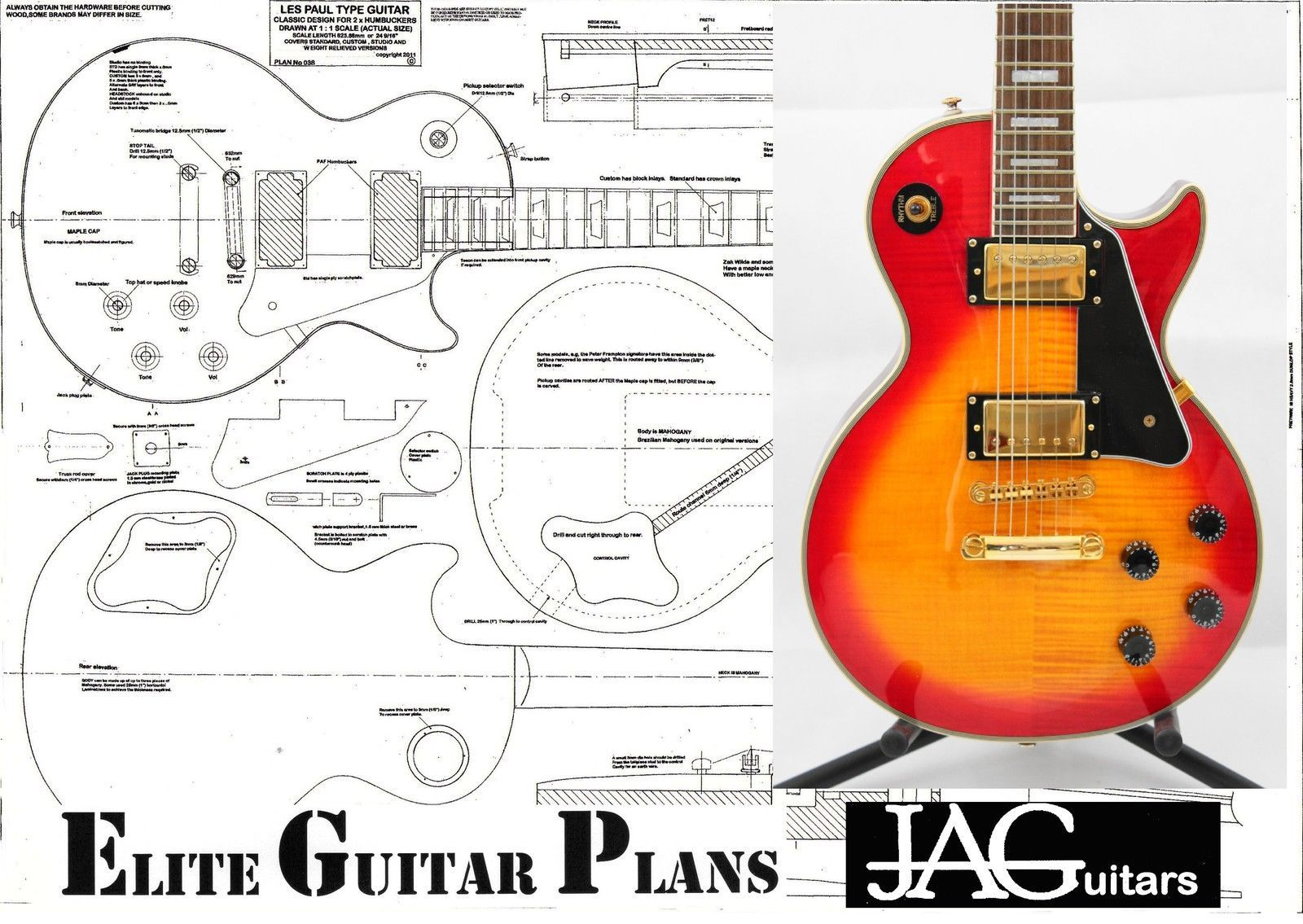 Luthiers Project Plan Drawing For Gibson Les Paul Guitar P038 Epiphone Firebird Studio Wiring Diagram Ideal Gift Ebay Guitarras