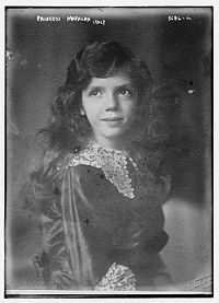 Mafalda of Savoy (1902 - 1944). Second daughter of Victor Emmanuel III and Elena of Montenegro. She married Philipp, Landgrave of Hesse and had four children. She was imprisoned by Germany during WWII to keep her father from opposing German interests. She was wounded during a bombing to the concentration camp she was sent to. She died after her arm was amputated.