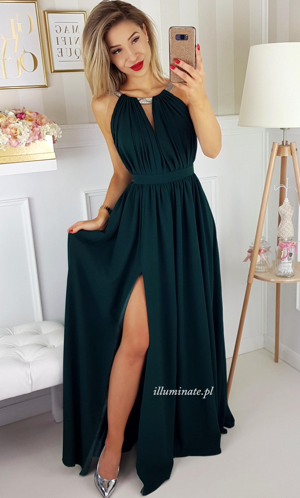 Elisa Dluga Sukienka Butelkowa Zielen Sklep Illuminate 389zl Prom Dresses Sleeveless Prom Dresses Chiffon Prom Dress