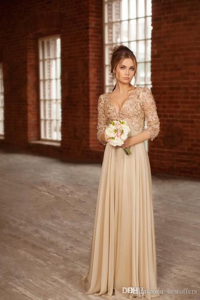 Champagne Long Sleeve Formal Dress