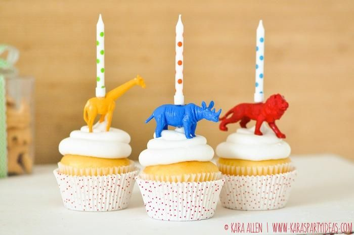DIY animal birthday candle cake cupcake toppers via Kara Allen