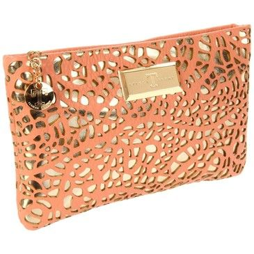 coral / gold clutch