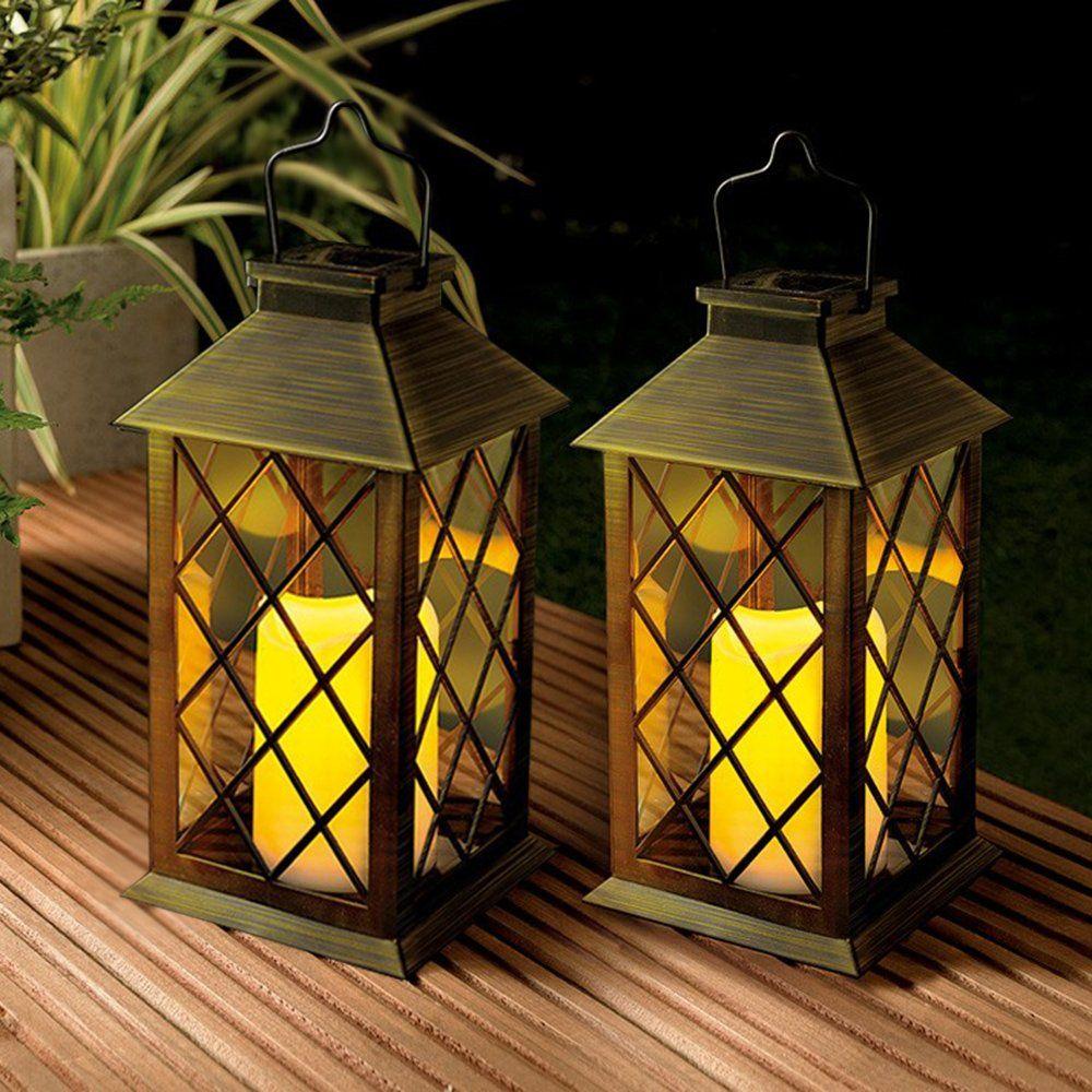 Solarlaterne Mit Kerze Laterne Garten Deckbeleuchtung Outdoor Laternen