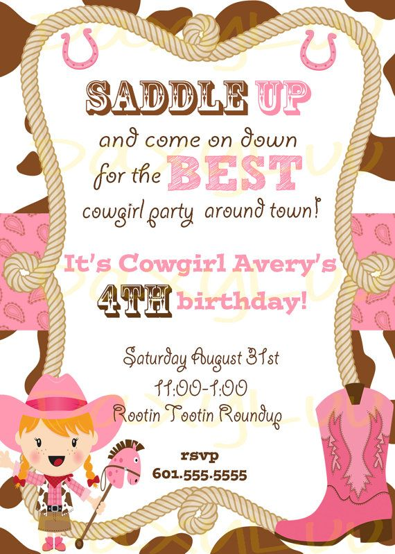 Cowgirl Birthday Party Invitation Pink and Brown Cowgirl birthday