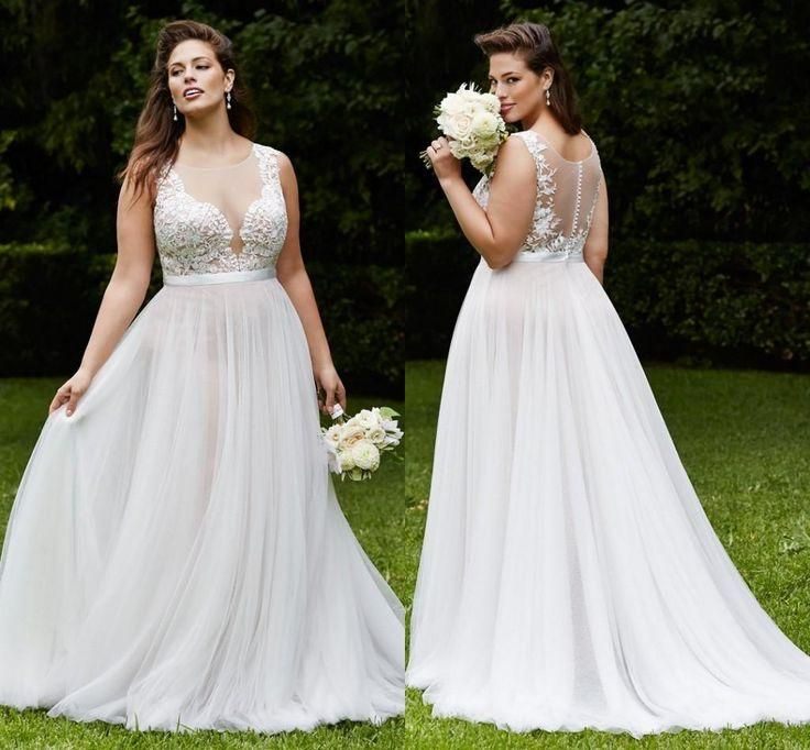 Hot Plus Size Wedding Dresses Jewel A-Line Sleeveless See ...