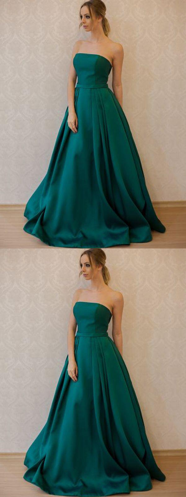 long prom dress aline cheap simple modest strapless prom dress