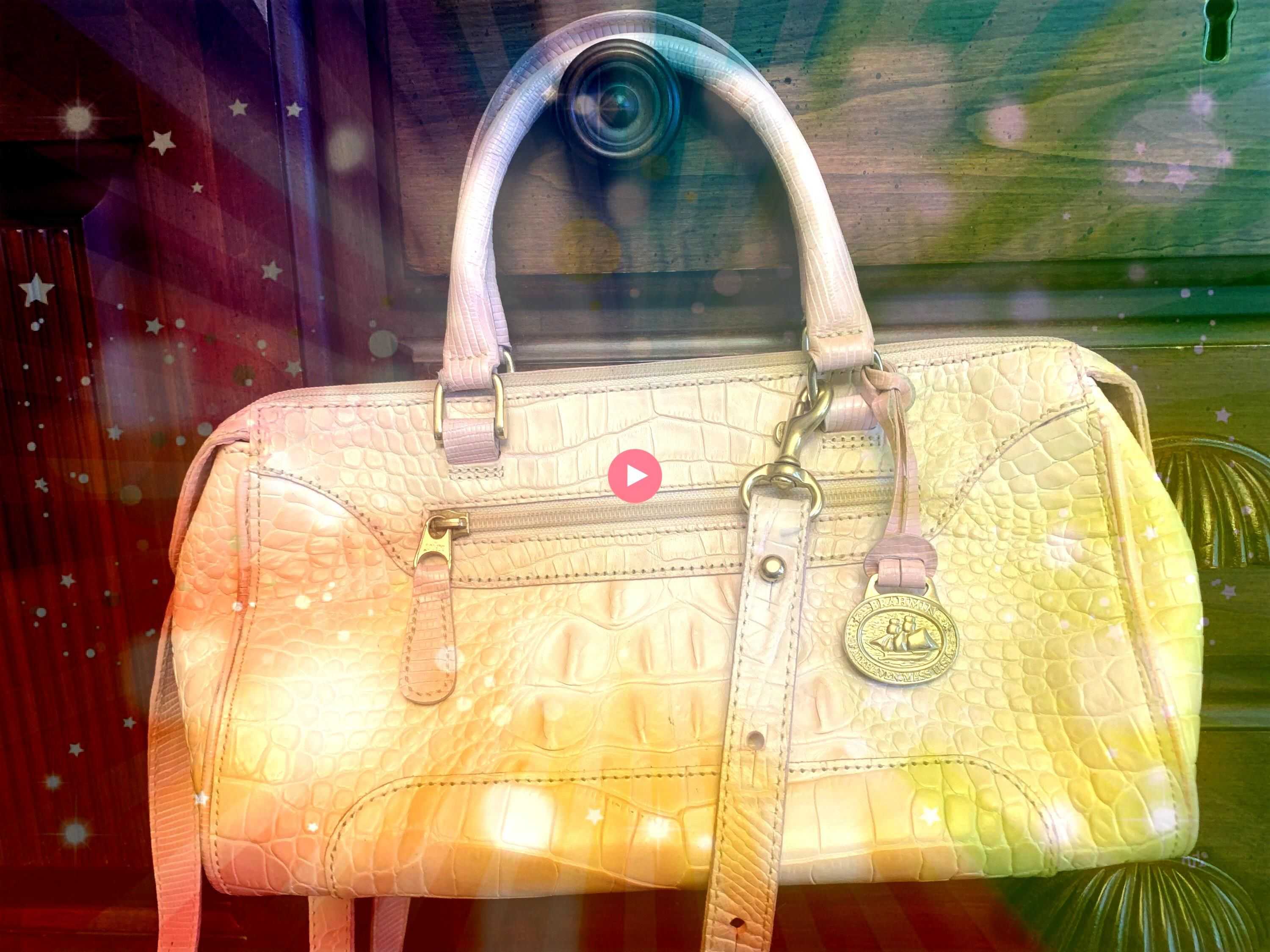 to share this item from my shop Brahmin Top Handle Mini Duffle with Shoulder Strap in Light Cream with Light Pink trimExcited to share this item from my shop Brahmin Top...