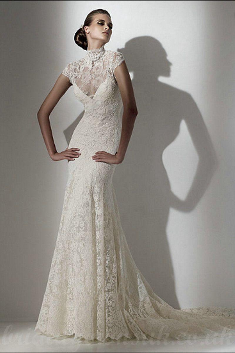 Vintage Inspired Beautiful Style Wedding Dresses Photo Mermaid Lace Exotic Chapel Train