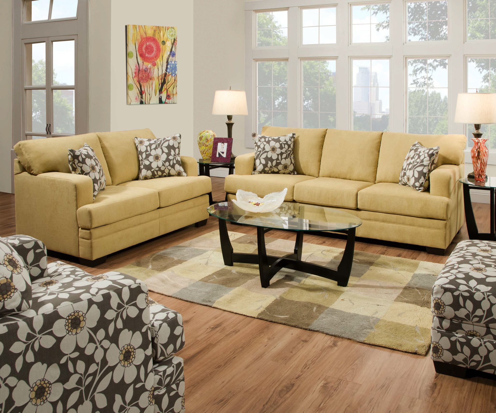 6491 Simmons Caprice Cornsilk Sofa and Loveseat Also es in