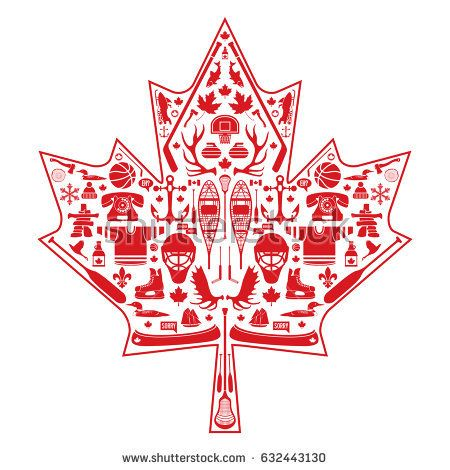 A Classic Maple Leaf Constructed Out Of A Huge Selection Of Canadian Icons These Simple Elements Combine To Represent The National Symbols Maple Leaf Classic