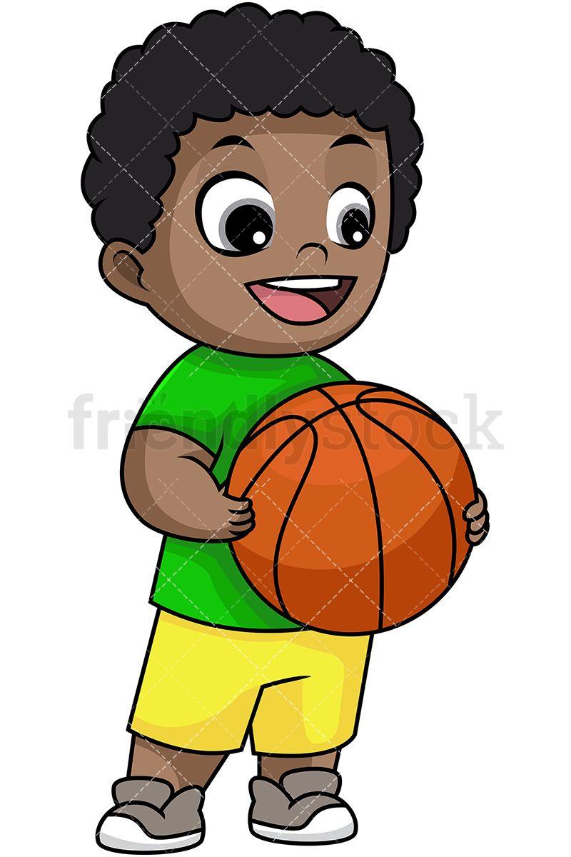 Happy Black Boy Holding Basketball Cartoon Vector Clipart Friendlystock Cartoons Vector Happy Black Black Love Art