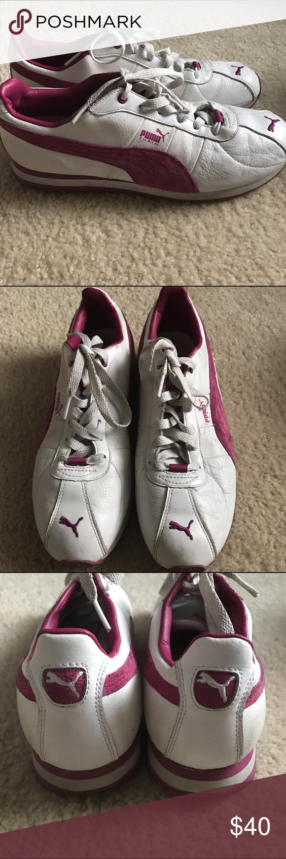 PUMA Sneakers PUMA Pink and White Retro Leather Sneakers. Gently Used. Small Marks as Seen in Pictures. Very Comfortable. Puma Shoes Sneakers