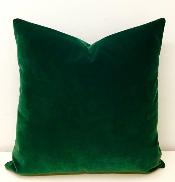 luxury dark green velvet throw pillow