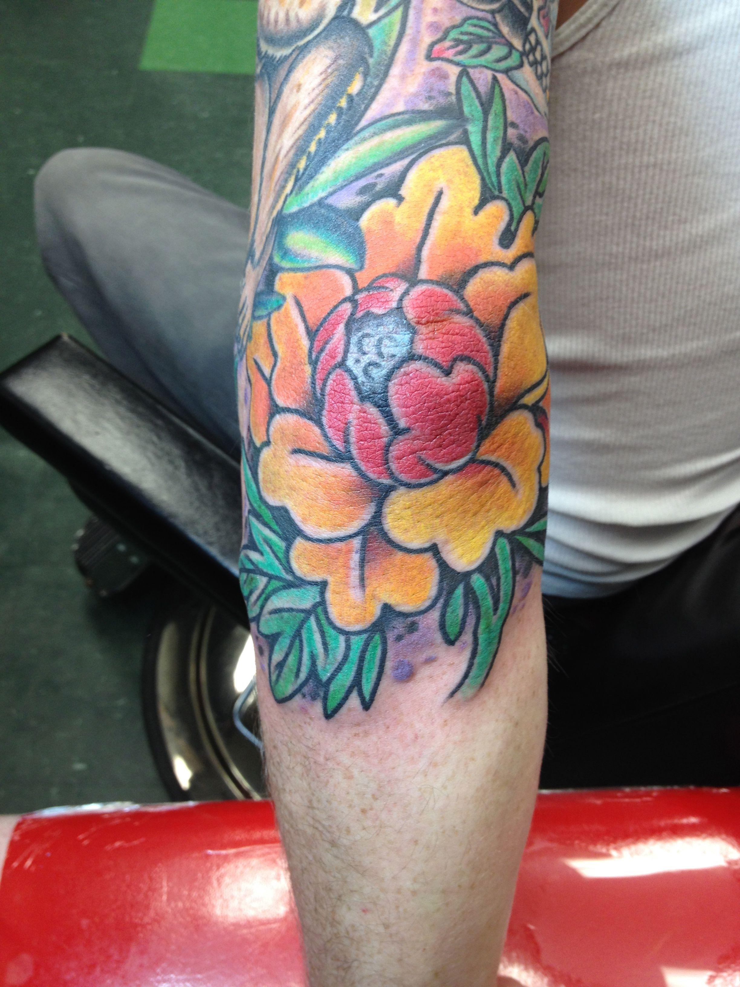 Japanese peony flower tattoo on elbow elbow tattoos pinterest japanese peony flower tattoo on elbow izmirmasajfo