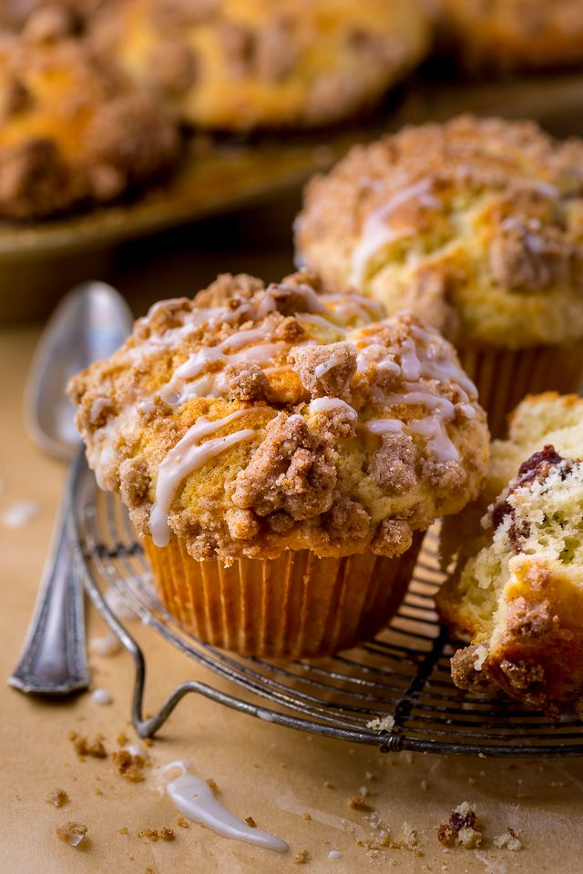 Bakery-Style Coffee Cake Muffins with Vanilla Glaze