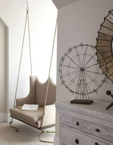 Repurpose wingback chair as hanging swing