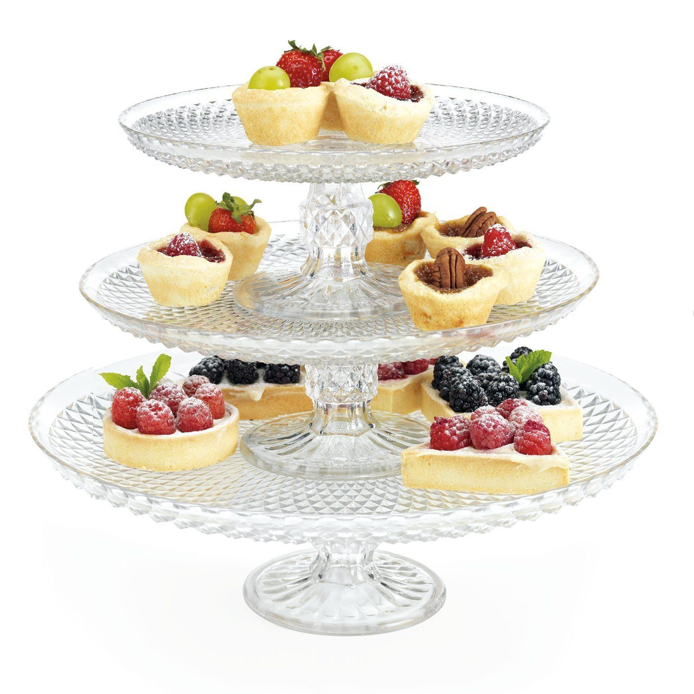Amazon Com 3 Tier Glass Cake Plate Stand Server Kitchen Dining 47 99 Cake Plates Stand Three Tier Cake Stand Tiered Cake Stand