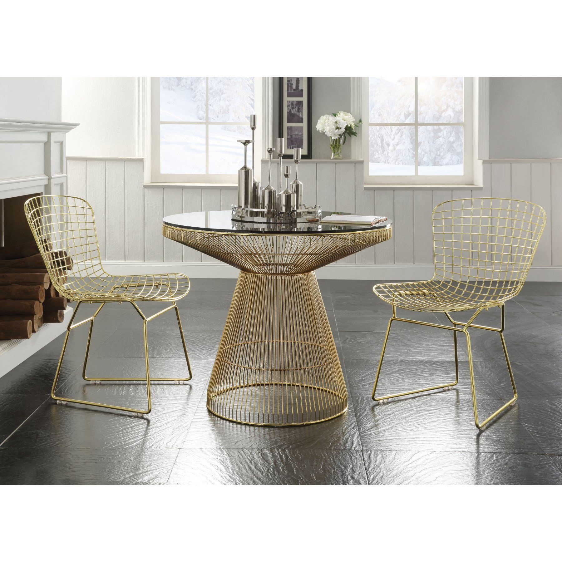 Acme Furniture Rianne 3 Piece Round Dining Table Set  Acm1757 Amazing Acme Dining Room Set Decorating Design