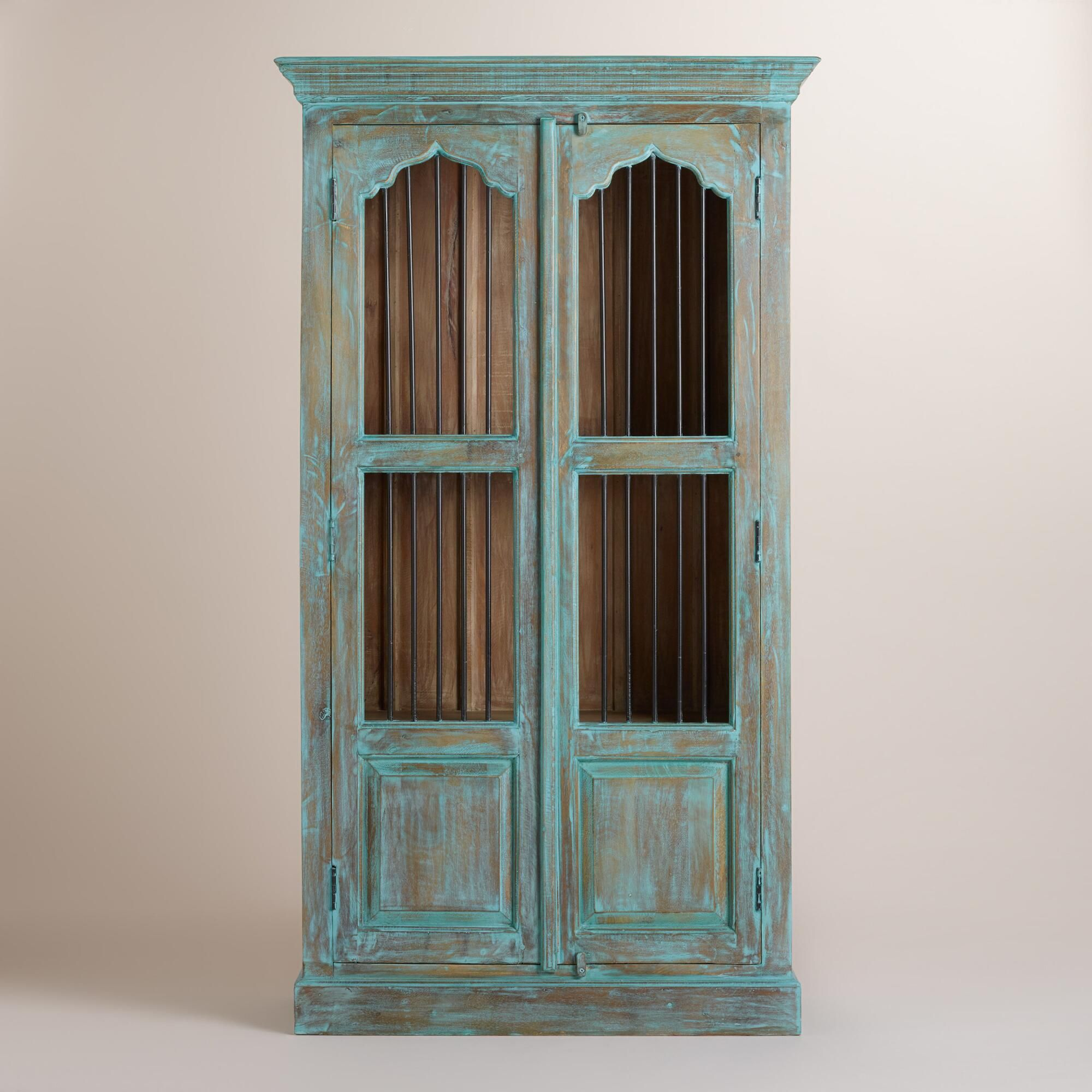 Kitchen cabinet doors in bangalore first time in india architect - Handcrafted By Artisans In Rajasthan Our Distressed Teal Cabinet Brings Traditional Indian Design To Contemporary