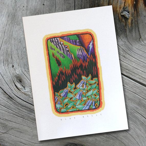 Blue Bells... A Colorado Mountain Blank Note Card. Made