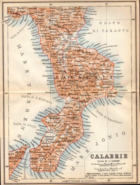 1908 Calabria Italy Antique Map Calabrie Map Italian Peninsula