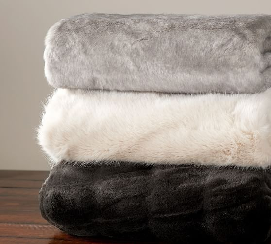 Ruched Faux Fur Throw Ebony Pottery Barn HOUSE Pillows Rugs Inspiration Faux Fur Throw Blanket Pottery Barn