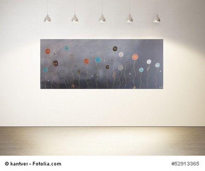 Abstrakt Bild Luftblumen gold grau Acrylmalerei von Meine ...