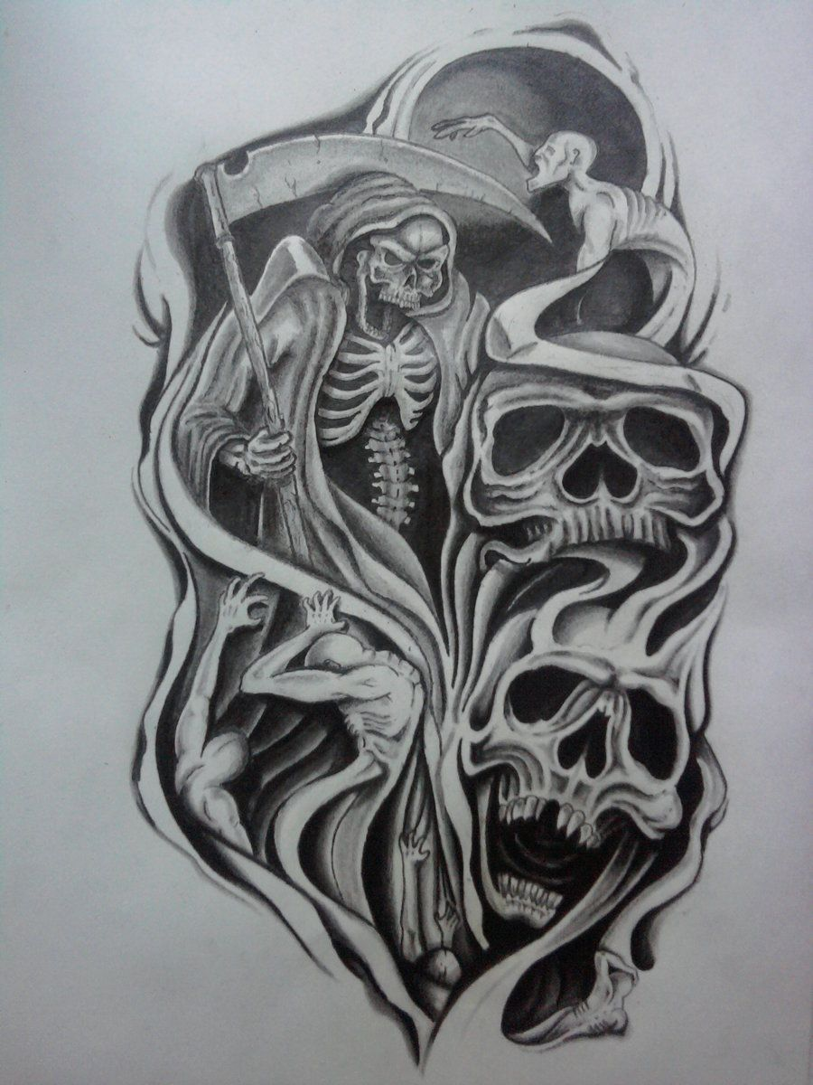 Sketch Style Tattoo Sleeve: Skull Half Sleeve Tattoo Designs