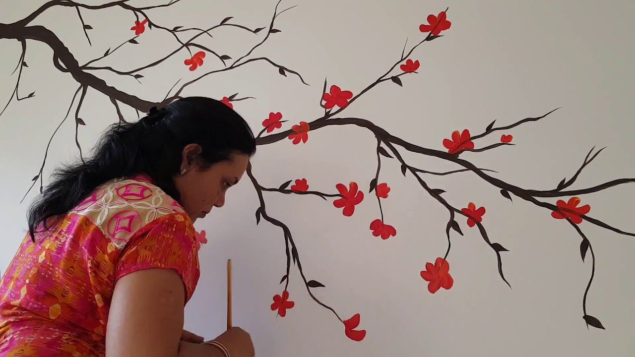 Lovely Red Flower Branches Wall Painting By Babita Keshan Tree