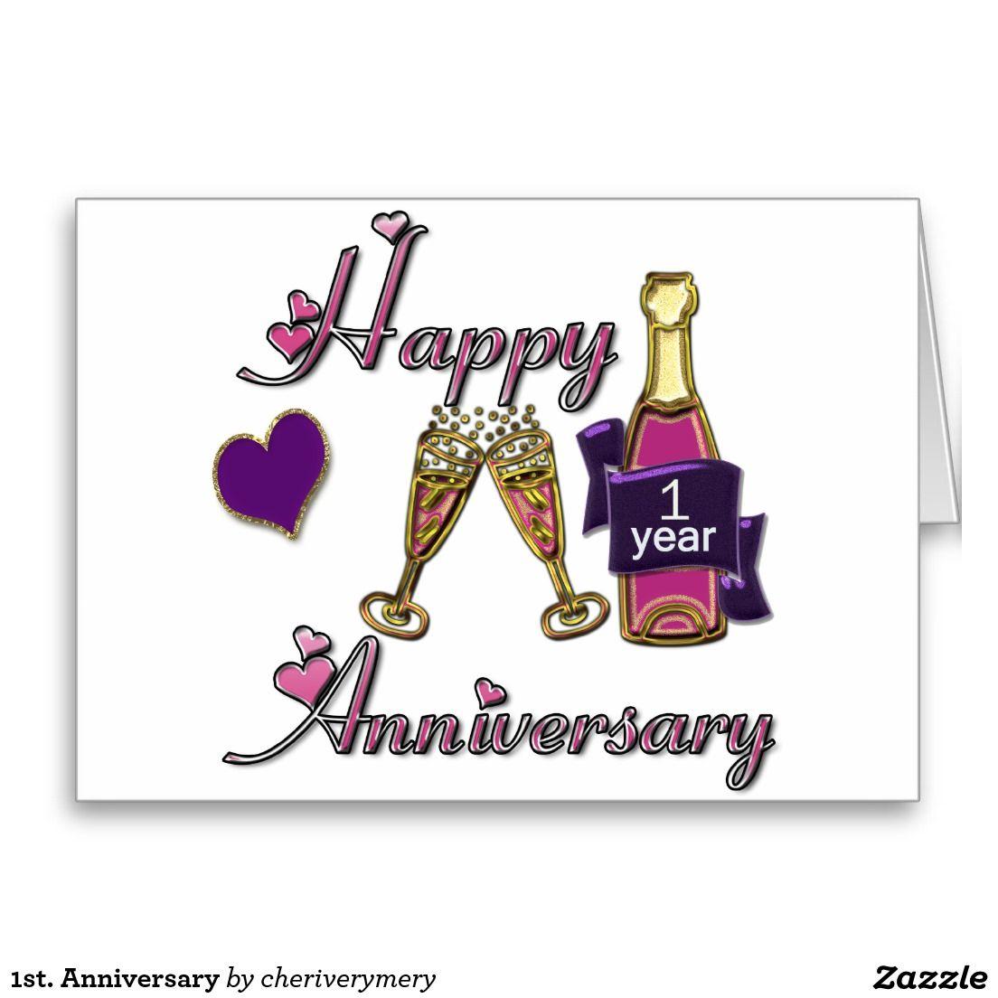 1st Anniversary Greeting Card Anniversary Gifts Pinterest