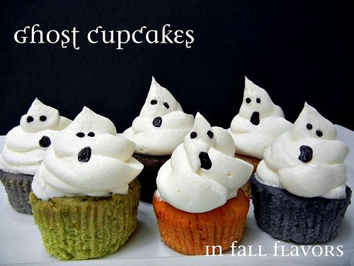 Love these Ghost Cupcakes!  Don't they look like they're singing?  ;-)