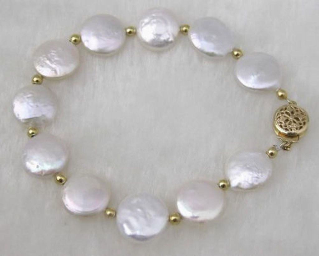 Fashion handmade natural white mm coin freshwater pearl