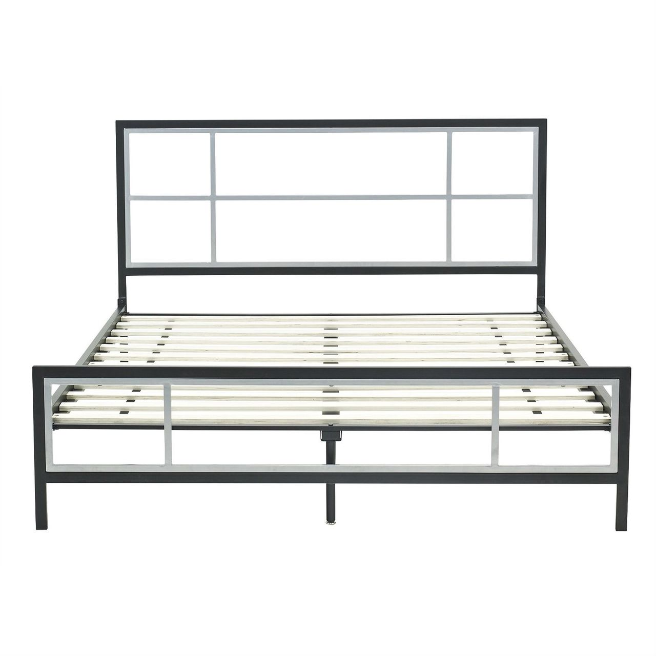 Queen size modern platform metal bed frame with headboard footboard wooden slats quality house