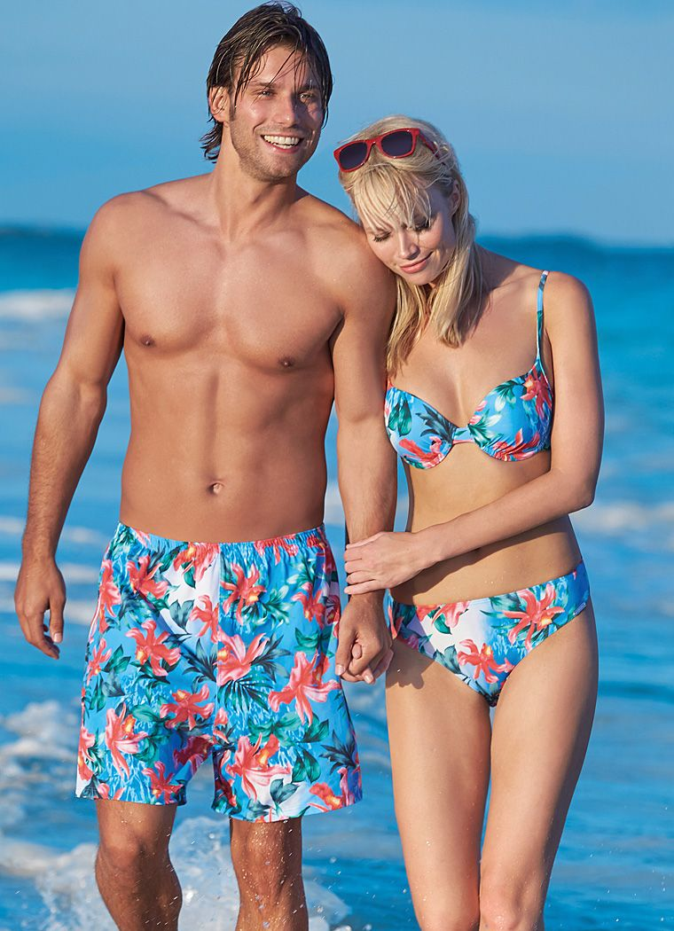 Cute matching his and hers swimwear. Gorgeous bikini and ...