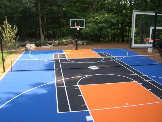 Backyard Basketball Court Ideas To Help Your Family Become Champs Bored Art In 2020 Basketball Court Backyard Backyard Basketball Outdoor Basketball Court
