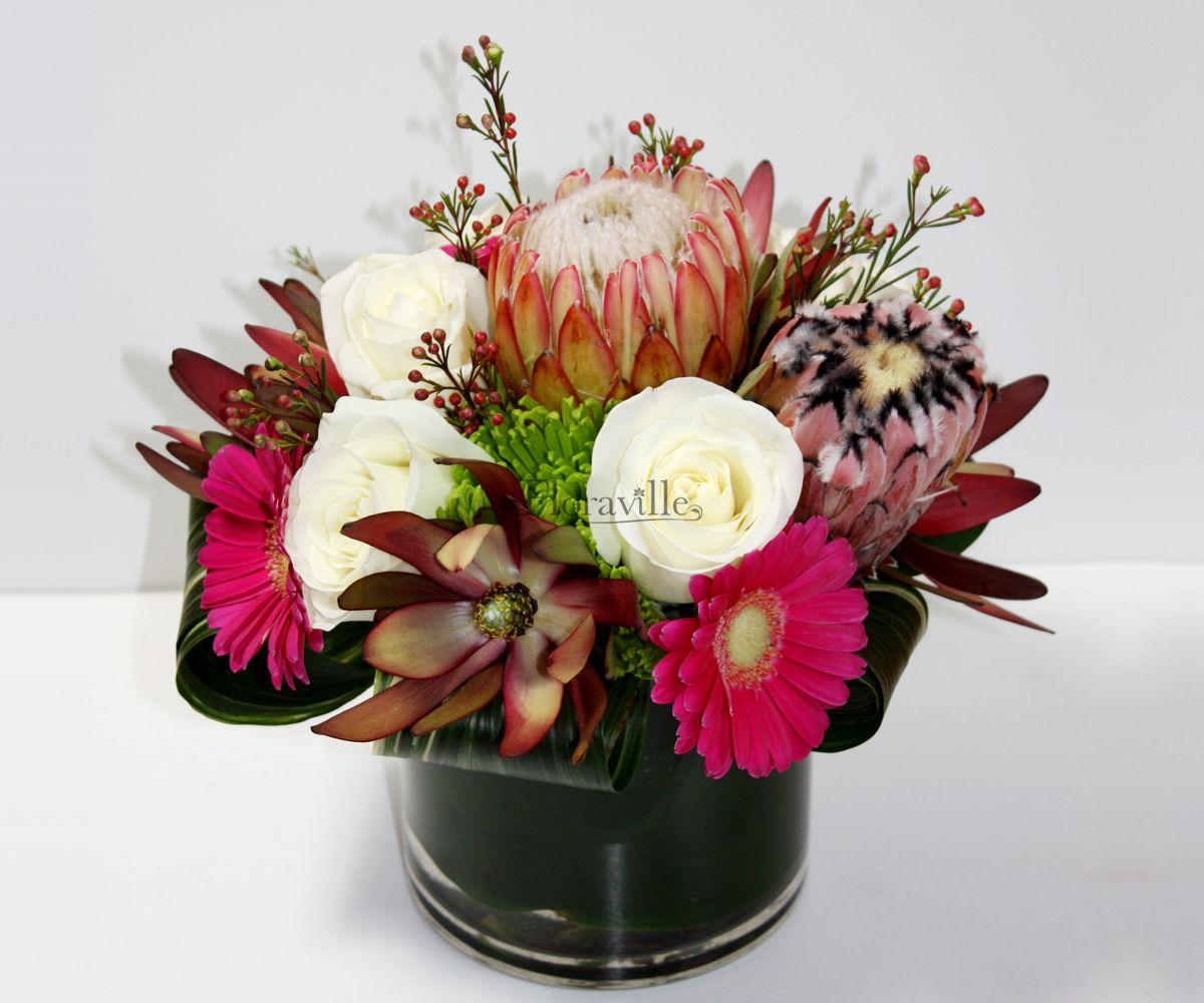 Gerbera Daisy Arrangements Vases: Vase Arrangement With White Roses, Hot Pink Gerbera Daisy