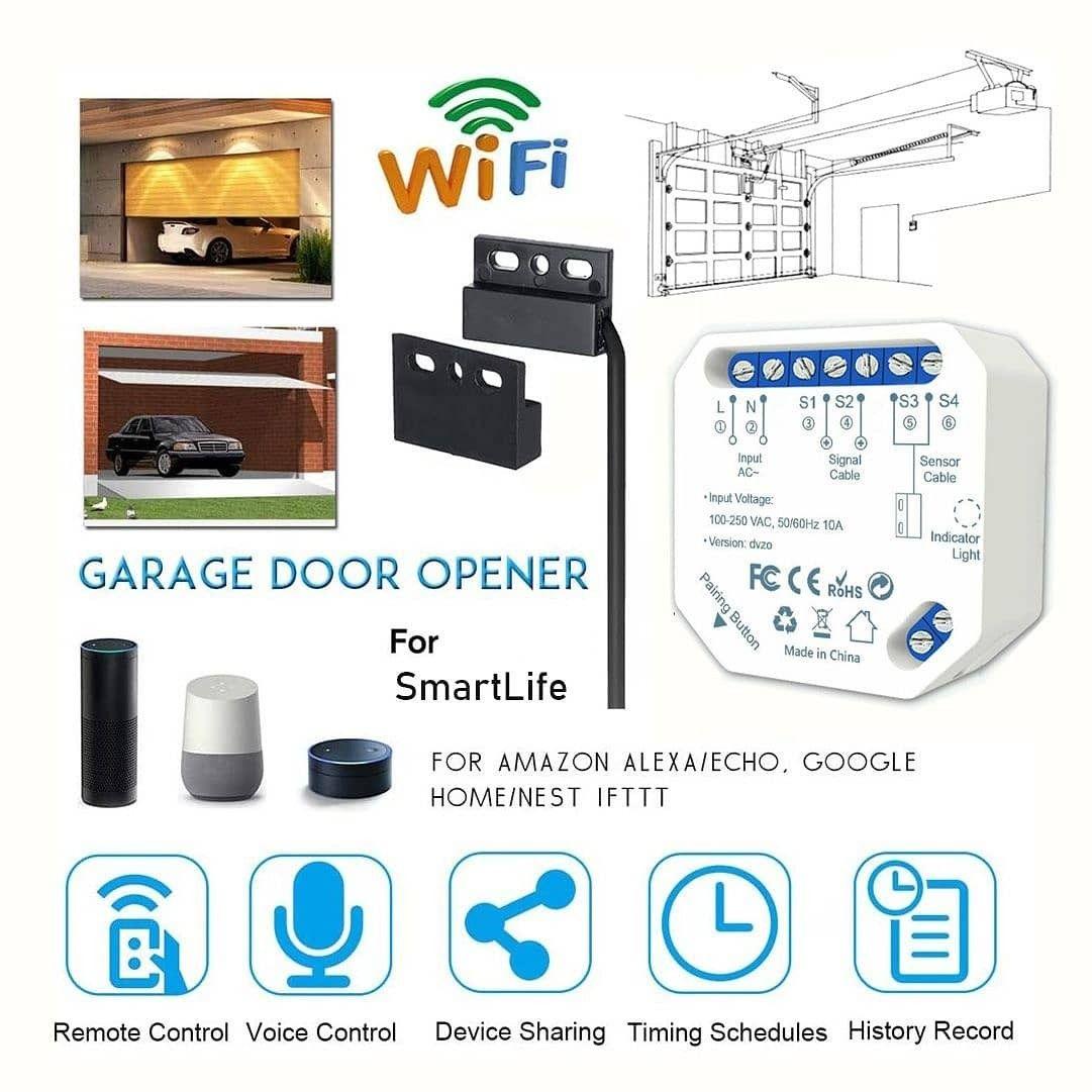 Smart Home Garage Door Opener Wireless Switch Controller App Control Support Alexa Google Home In 2020 App Control Smart Wifi Life App