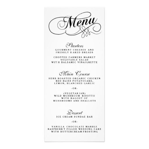 Elegant Black And White Wedding Menu Templates Rack Card Design - sample drink menu template