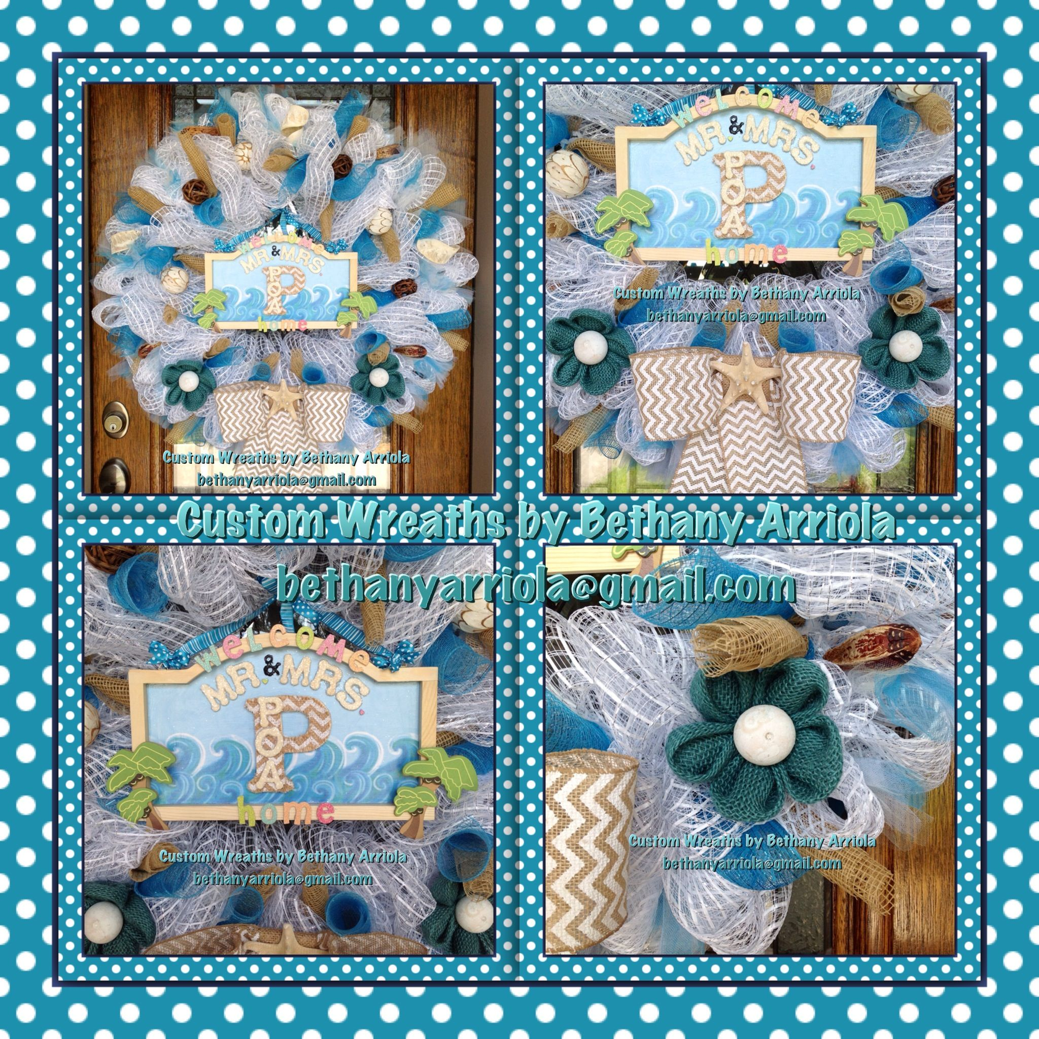Gmail beach theme pictures - Beach Theme Turquoise White Deco Mesh Wreath Made For