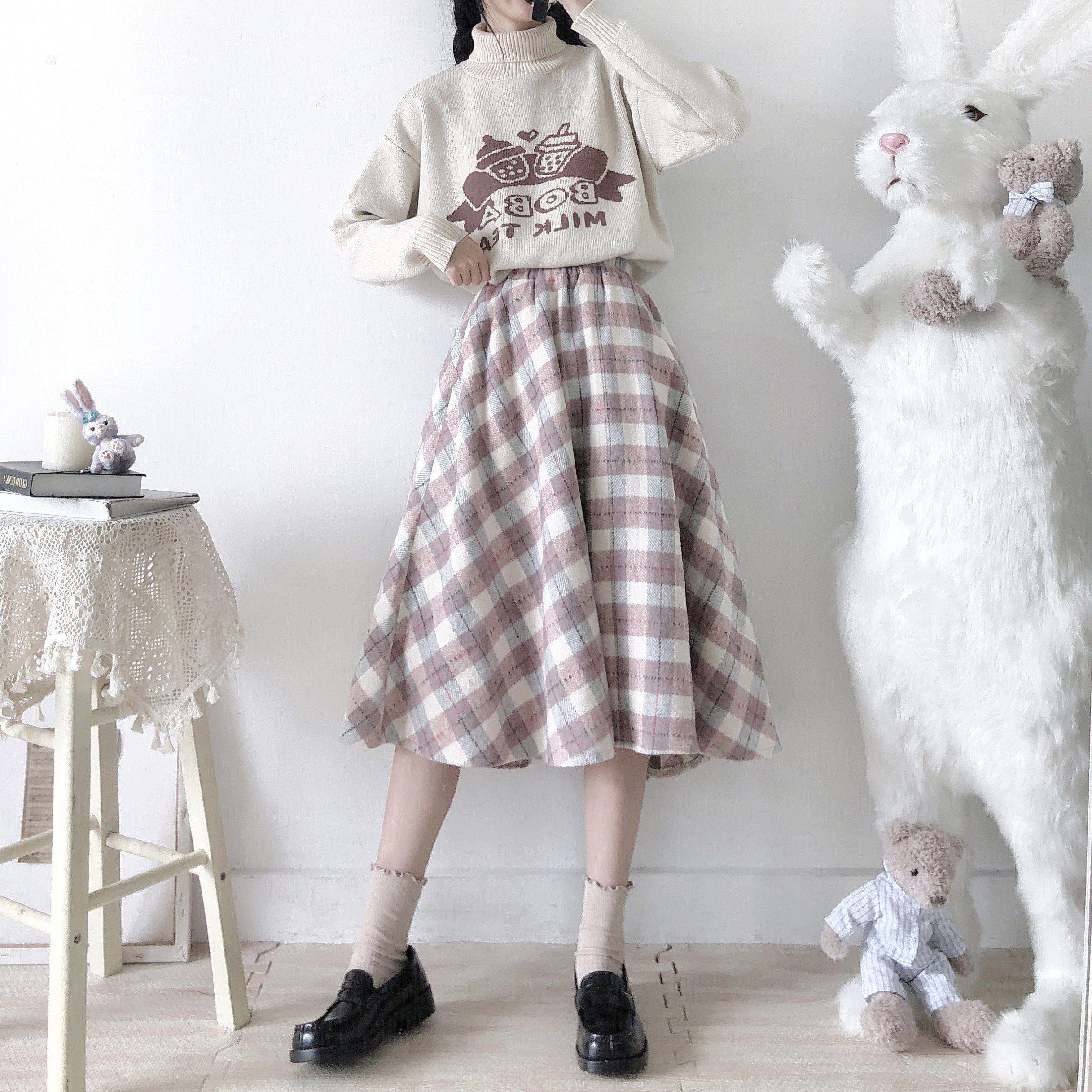 Photo of Kawaii Woolen Plaid Long Skirt – Pink / One Size