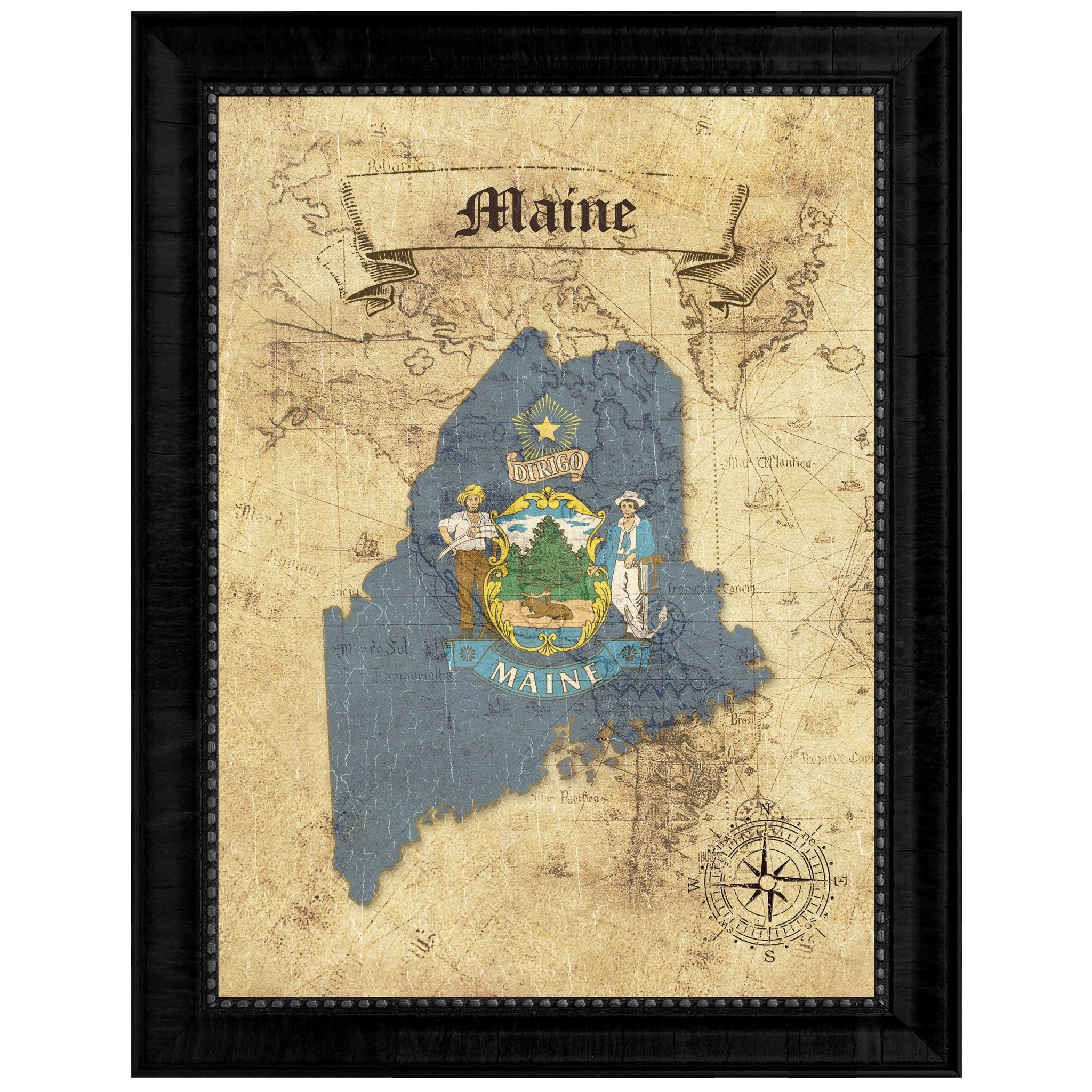 Maine State Vintage Map Gifts Home Decor Wall Art Office Decoration ...
